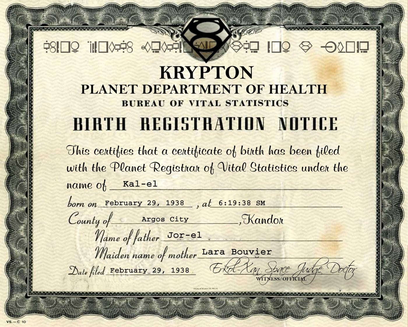 Image of Superman's birth certificate