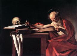 Portrait of Saint Jerome sitting at his desk