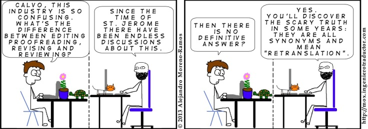 Comic strip about the blurred distinction between editing and proofreading