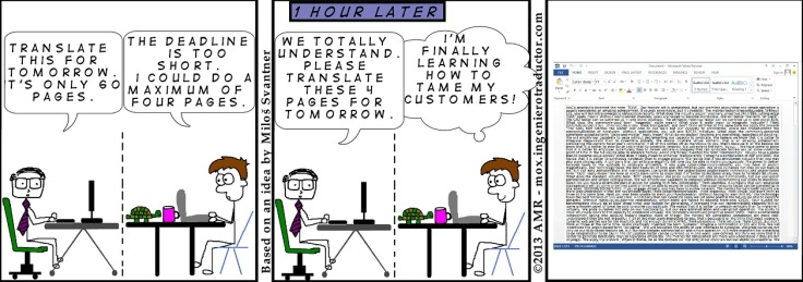 Comic strip illustrating clients' unreasonable expectations