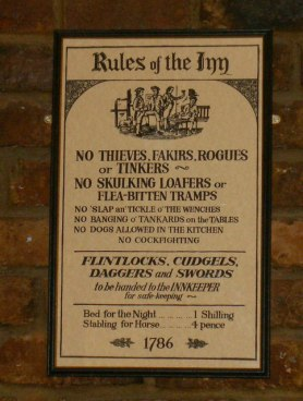 Image of antique rules of an English inn