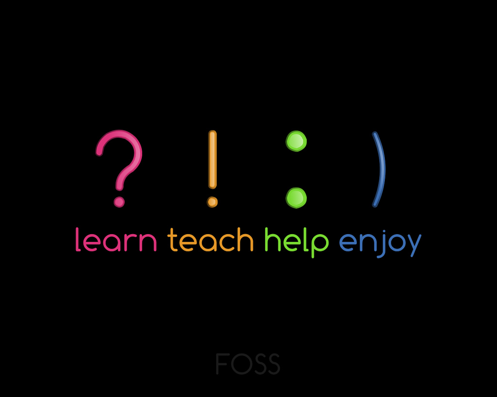 Series of punctuation marks followed by the words Learn, Teach, Help, Enjoy