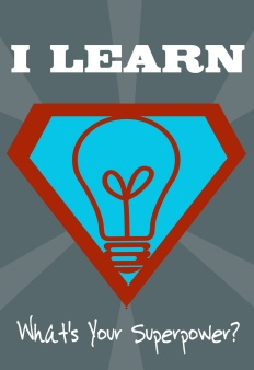 Image of a light bulb with the text: I learn, what's your superpower?