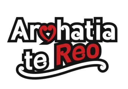 Logo saying Arohatia te Reo (Love Te Reo)