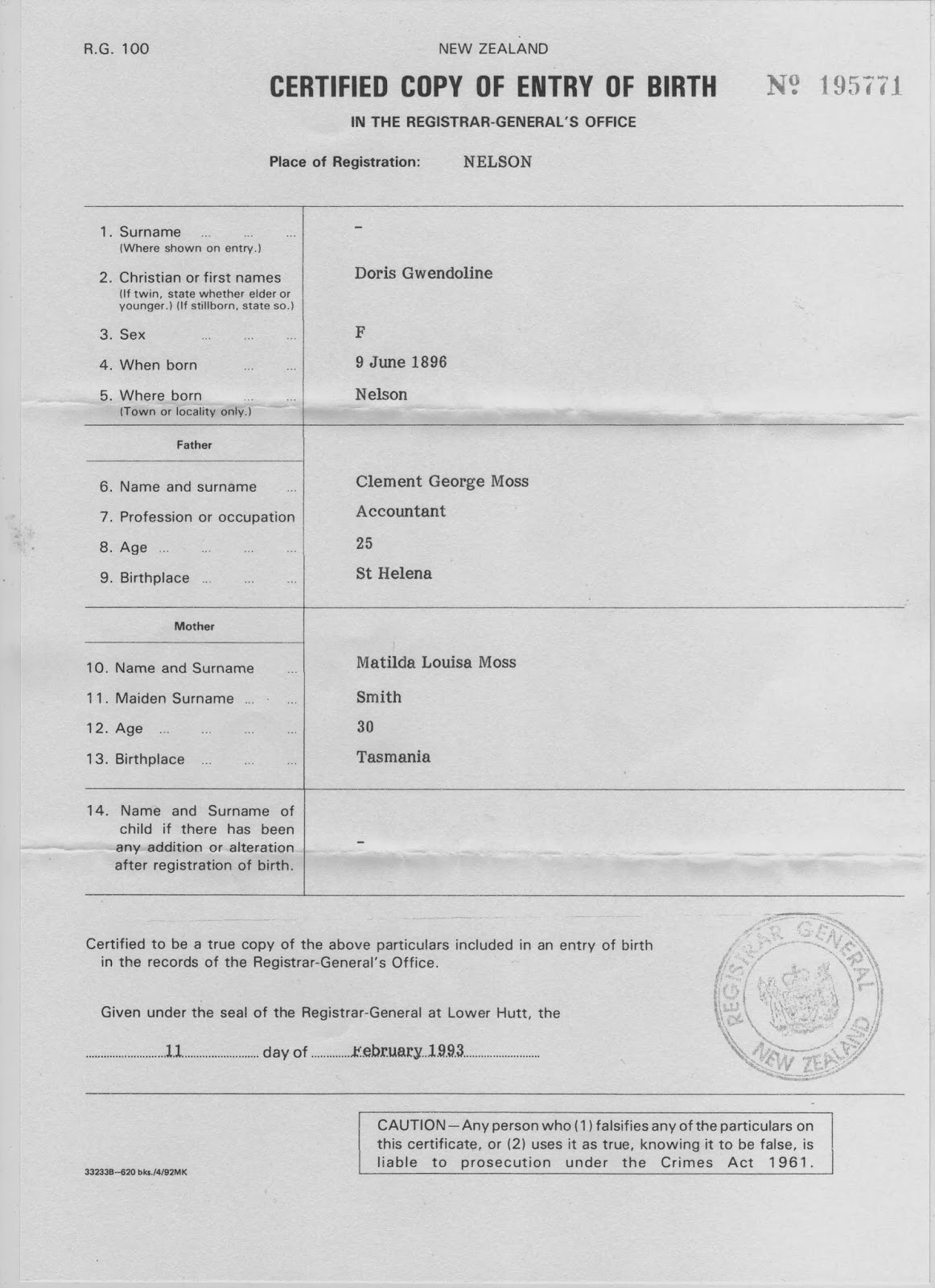 Copy of Doris's birth certificate
