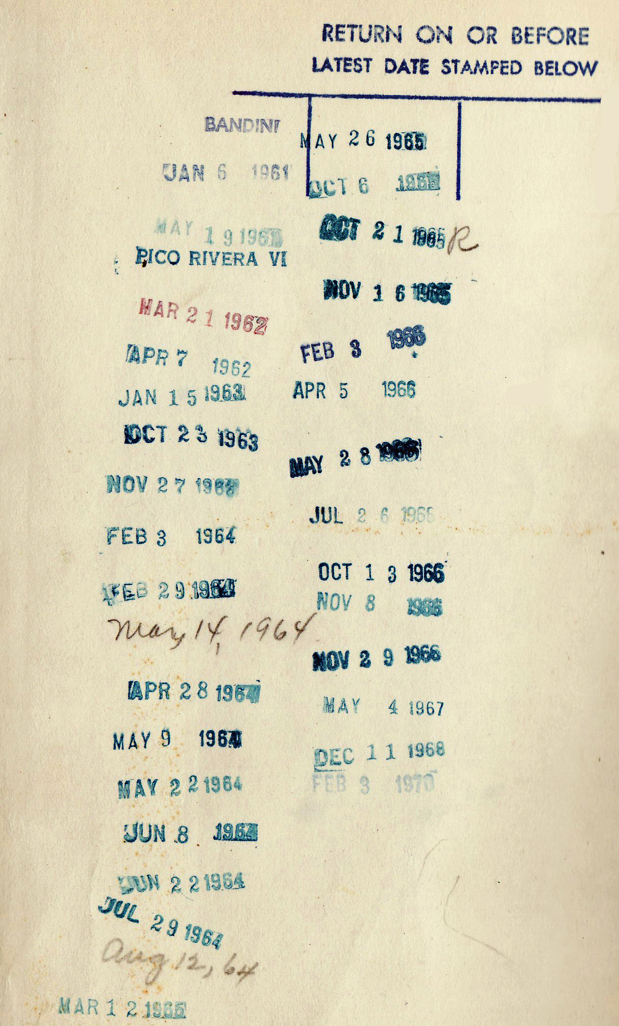 Picture of a sheet of paper with numerous stamped dates