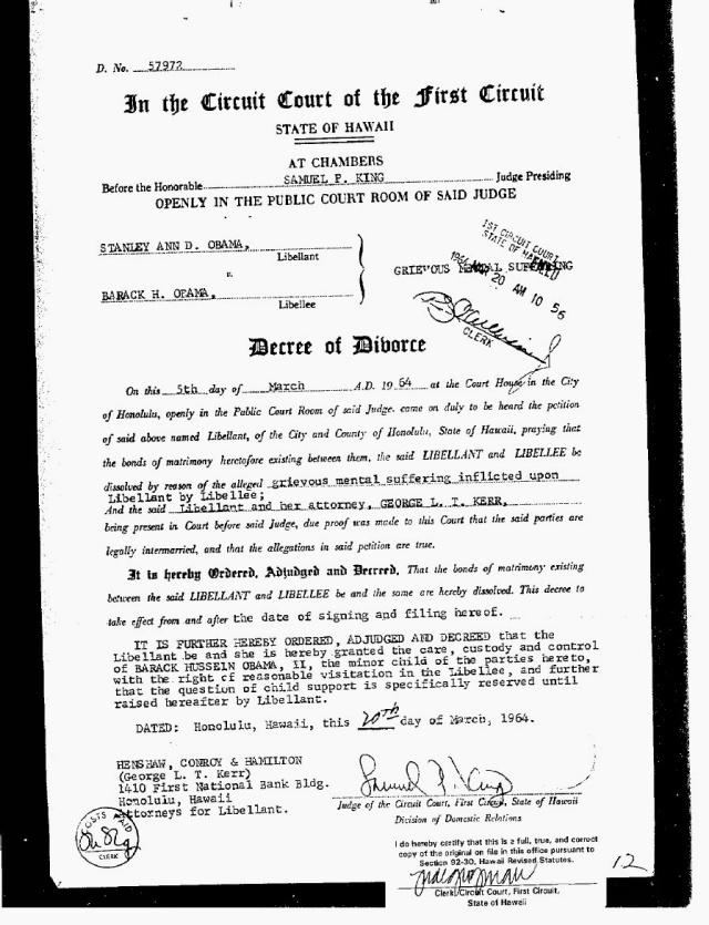 Mrs Obamas divorce decree Translating Aotearoa – Sample of Divorce Decree