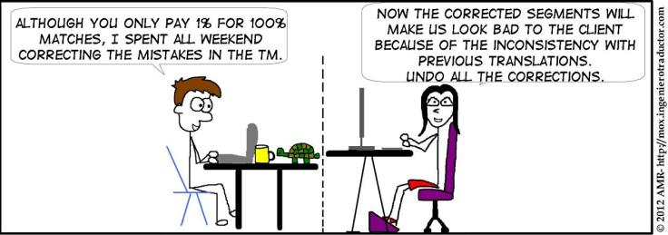 Comic strip showing Mox at his desk and a project manager at her desk. Mox says: Although you only pay 1% for 100% matches, I spent all weekend correcting the mistakes in the TM.'  The project manager replies: ' Now the corrected segments will make us look bad to the client because of the inconsistency with previous translations. Undo all corrections.'