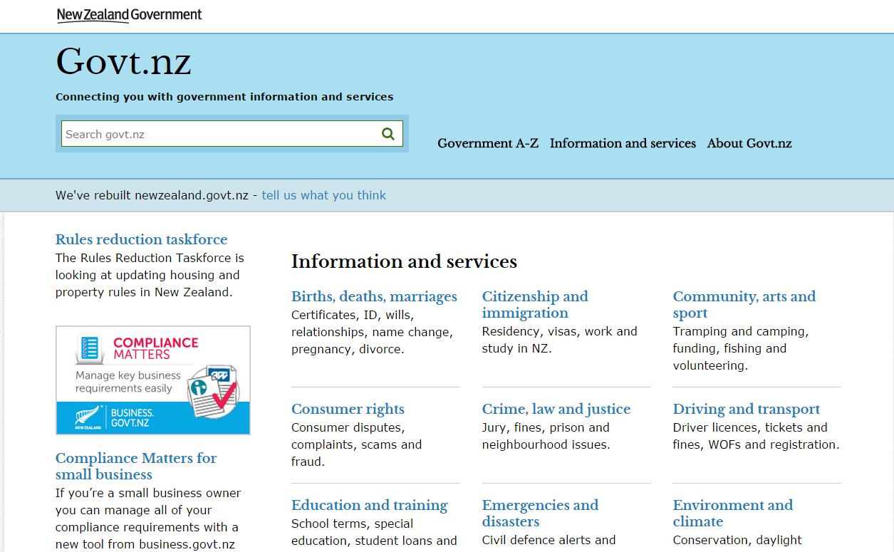 Screenshot of the homepage of the NZ Government's website