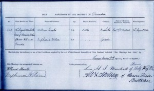 Copy of a 1864 marriage certificate
