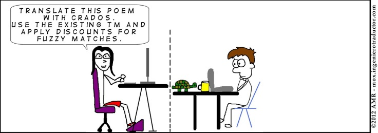 Comic strip showing a project manager asking Mox: Translate this poem with Crados. Use the existing TM and apply discounts for fuzzy matches.