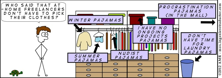 Comic strip depicting Mox in front of his closet: 'Who said that at-home freelancers don't have to pick their clothes?'