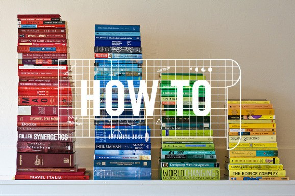 Picture of piles of books with the text 'How to'