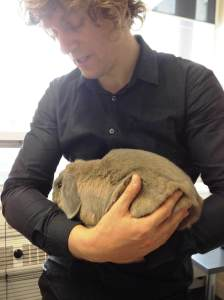 Picture of Quintin holding his rabbit