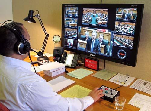 Picture of Wiremu in the interpreting studio