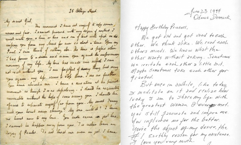 2 handwritten love letters side by side