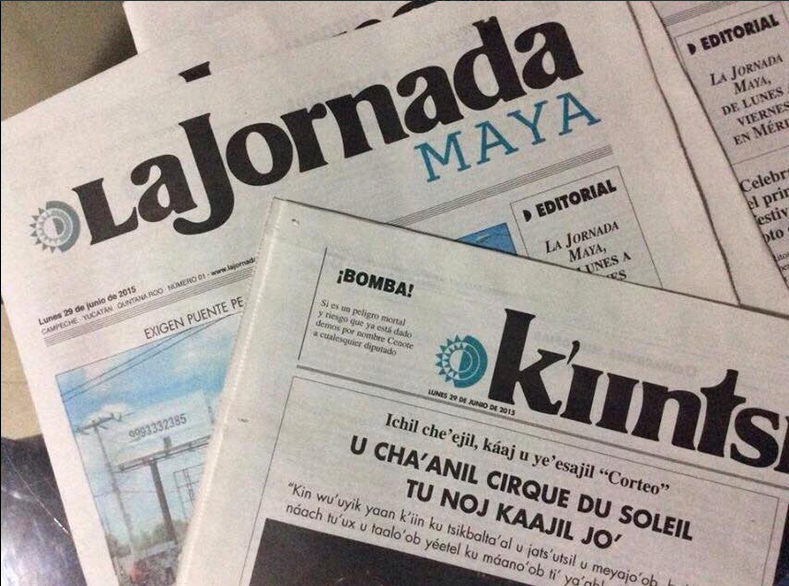 Photo of the Mayan edition of La Jornada daily newspaper in Mexico, published on Twitter by @YUCATANALMINUTO.