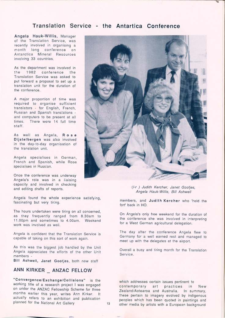 The Translation Service featured in the Department of Internal Affair's internal magazine in 1988 after the work they did for the Antartica Conference